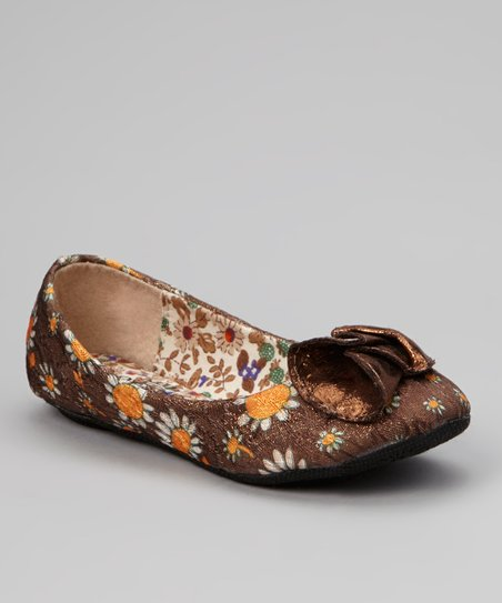Brown Floral Minely Flat