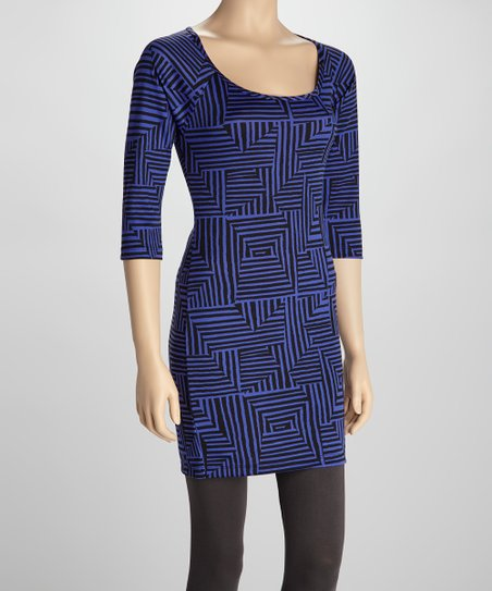 Black & Purple Geo Sheath Dress