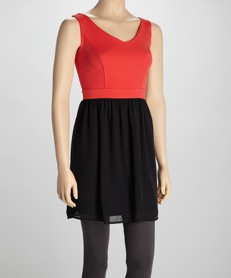 Fire Red & Black V-Neck Dress