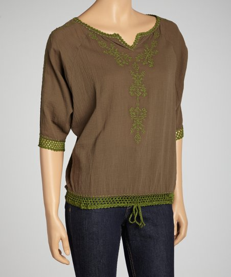 Olive Embroidered Crochet Top