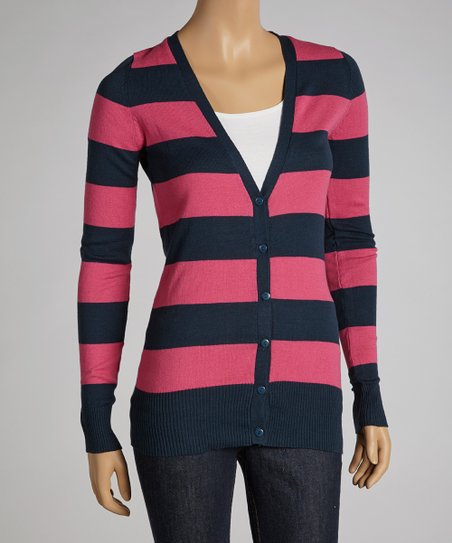 Indigo & Hot Pink Stripe V-Neck Cardigan