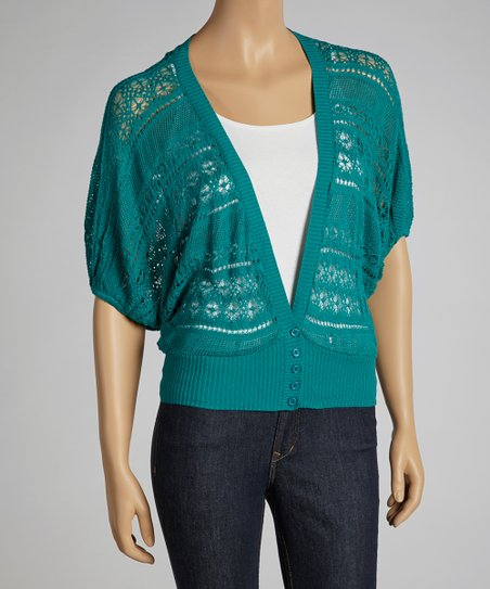 Teal Sheer Dolman Cardigan