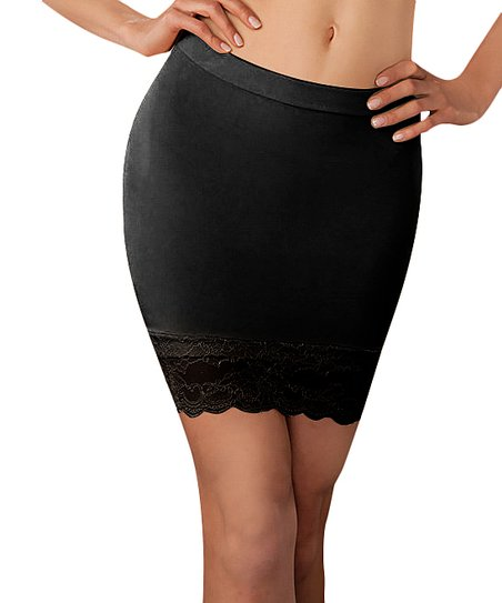 Black Lace Seamless Half-Slip - Women