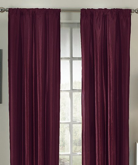 Burgundy Taffeta Interline Curtain Panel - Set of Two