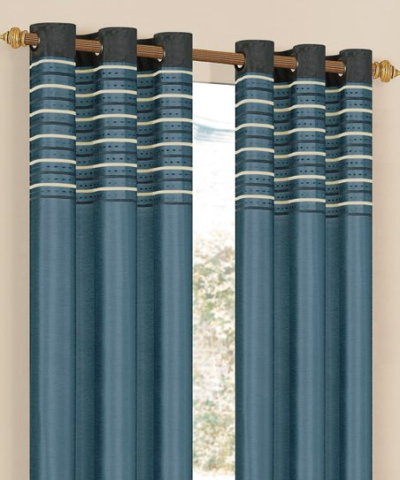 Sultry Blue Cityscape Grommet Curtain Panel