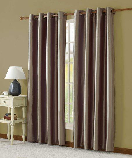 Taupe Taffeta Lined Curtain Panel