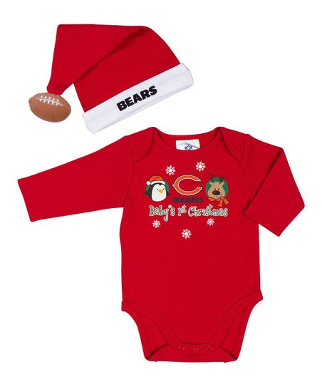Red Chicago Bears Bodysuit & Santa Hat - Infant