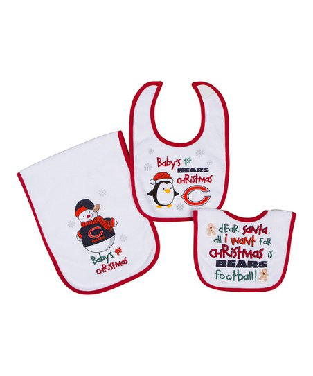 Red Chicago Bears '1st Christmas' Burp Cloth & Bib Set