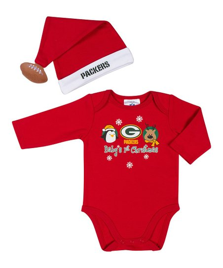 Red Green Bay Packers Bodysuit & Santa Hat - Infant