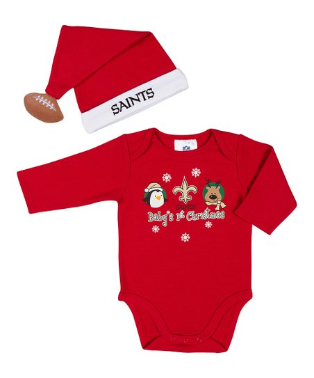Red New Orleans Saints Bodysuit & Santa Hat - Infant