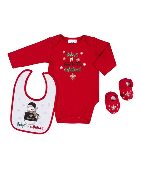 Red New Orleans Saints '1st Christmas' Bodysuit Set - Infant