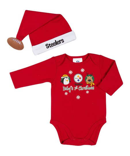Red Pittsburgh Steelers Bodysuit & Santa Hat - Infant