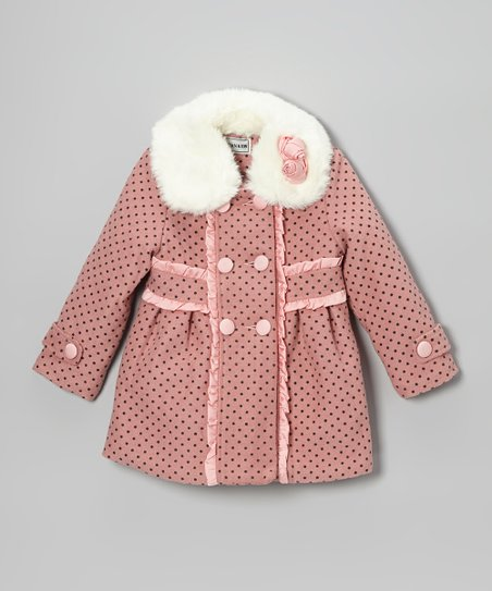 Rose Polka Dot Double-Breasted Coat - Girls