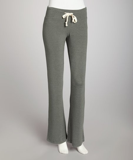 Hunter Green Heathered Basic Flare Drawstring Pants