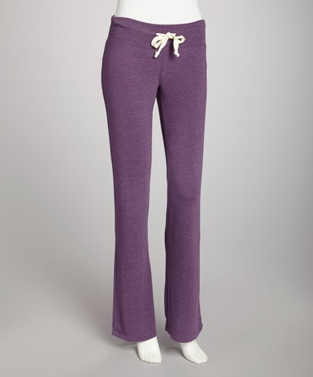 Purple Wine Basic Flare Drawstring Pants