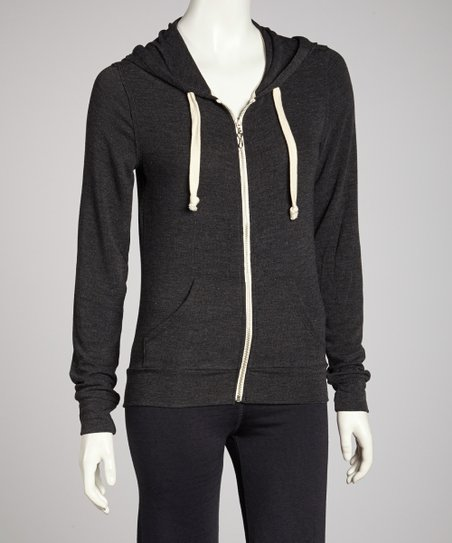 Black Charcoal Zip-Up Hoodie
