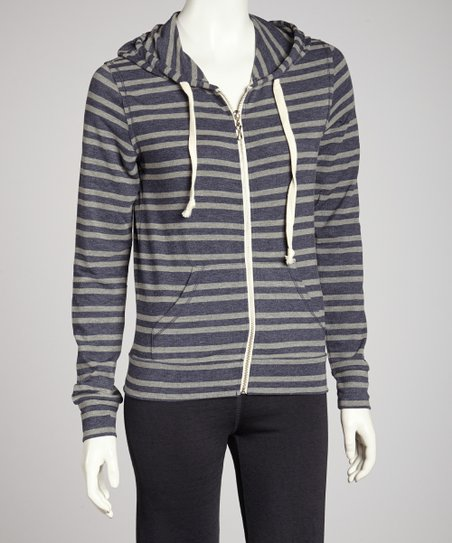 Evening Vintage Stripe Zip-Up Hoodie