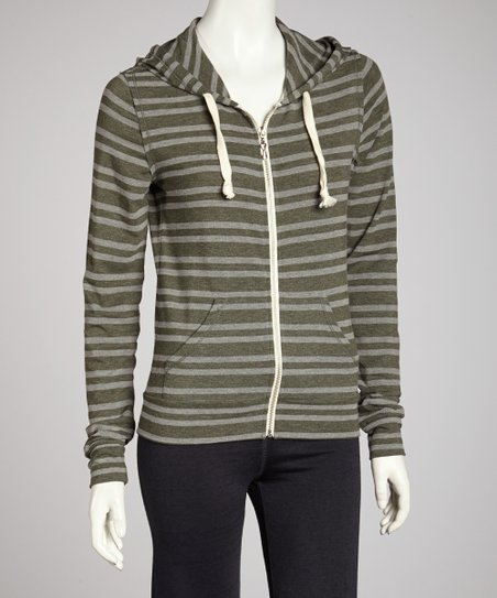 Hunter Green Vintage Stripe Zip-Up Hoodie