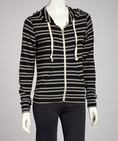 True Black Vintage Stripe Zip-Up Hoodie