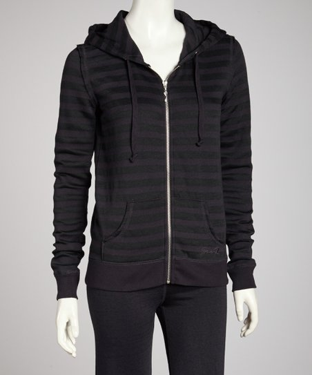 Asphalt Distressed Stripe Zip-Up Hoodie