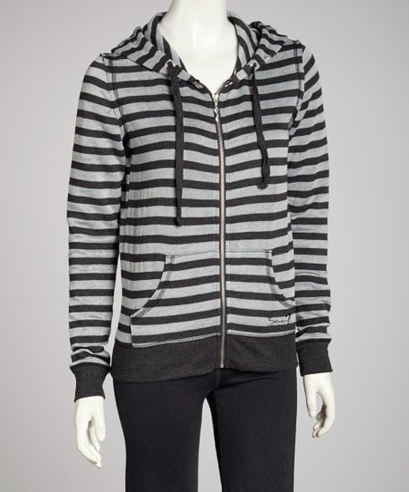 Black Distressed Stripe Zip-Up Hoodie