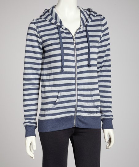 Evening Distressed Stripe Zip-Up Hoodie