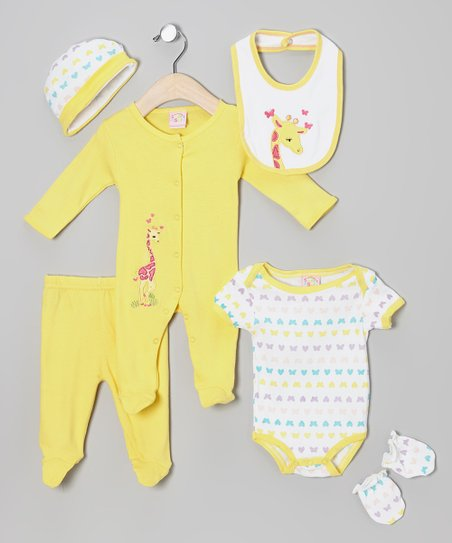 Yellow Giraffe Six-Piece Layette Set