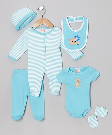 Turquoise Bear Cub & Blossom Six-Piece Layette Set