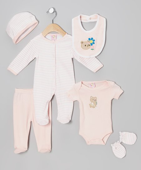 Pink Bear Cub & Blossom Six-Piece Layette Set