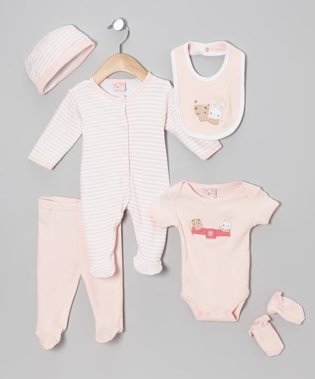 Pink Bunny & Bear Six-Piece Layette Set