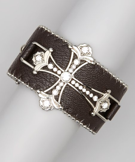 Silver & Brown Ornate Cross Bracelet