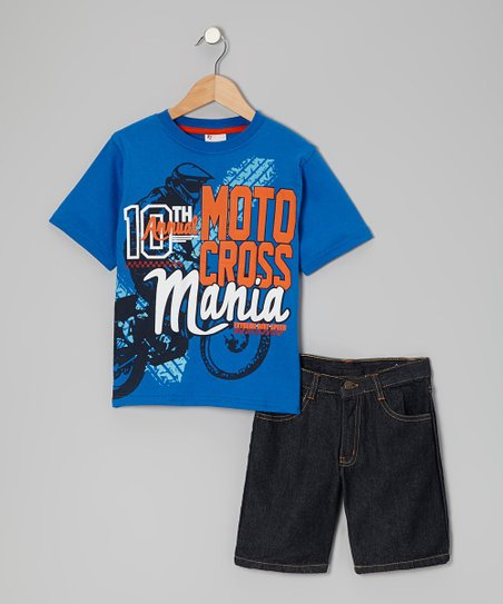 Royal 'Motocross Mania' Tee & Shorts - Boys