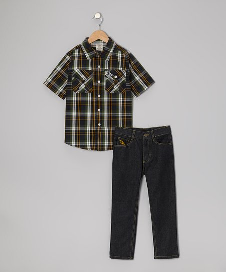 Green Plaid Button-Up & Jeans - Boys