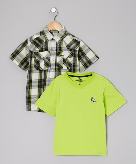 Lime Green Button-Up & Tee - Toddler