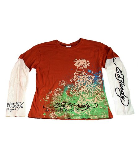 Dark Tan & Mint Geisha Layered Tee - Kids