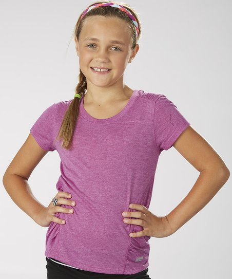 Neon Purple Ruched Tee - Girls
