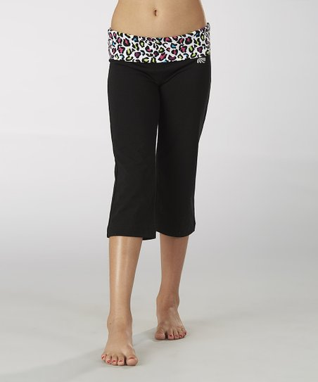 Black Party Animal Fold-Over Capri Pants