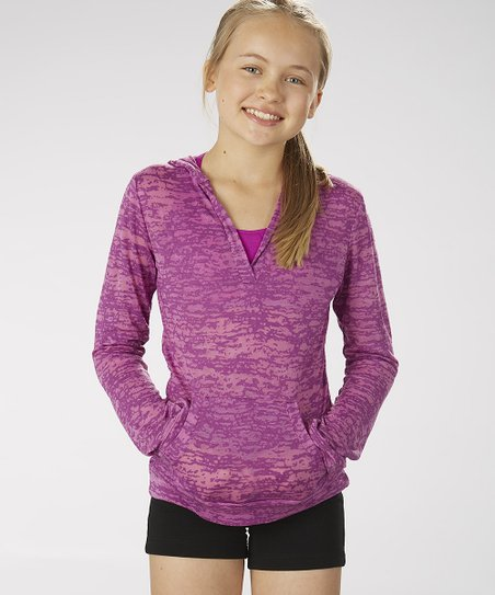 Neon Purple Burnout Hoodie - Girls