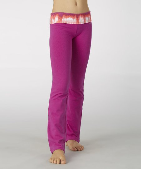Neon Purple Tie-Dye Fold-Over Yoga Pants - Girls
