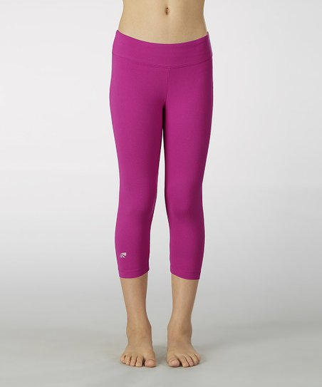 Neon Purple Sanded Dry Wik Capri Leggings