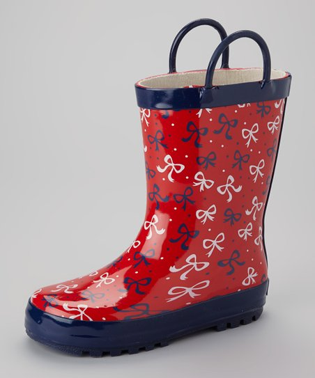 Red Bow Rain Boot