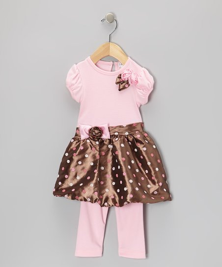 Brown & Pink Taffeta Bubble Dress & Leggings - Toddler & Girls