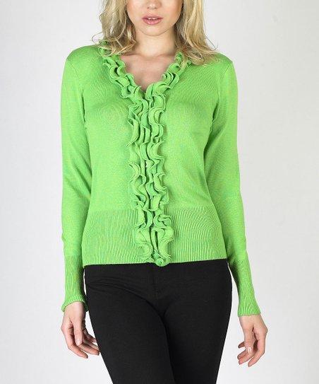 Lime Green Ruffle Sweater
