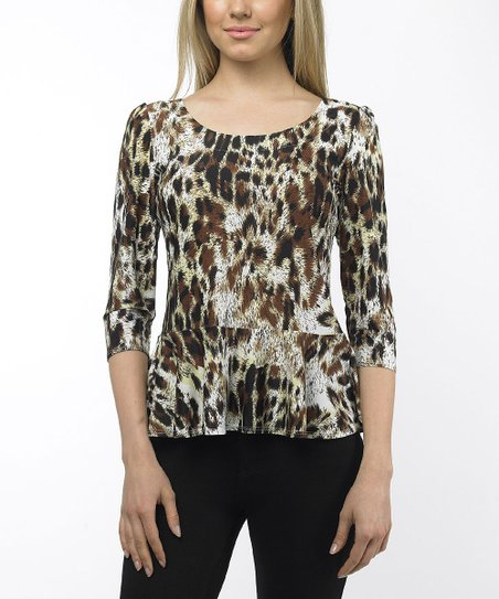 Tan Leopard Peplum Top