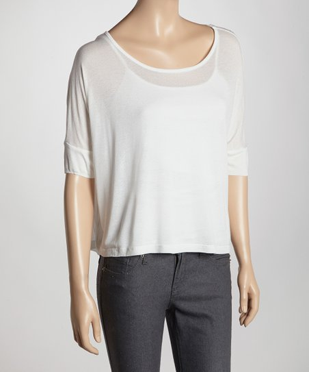White Semi-Sheer Scoop Neck Top