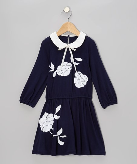 Navy & Cream Flower Jersey Dress - Toddler & Girls