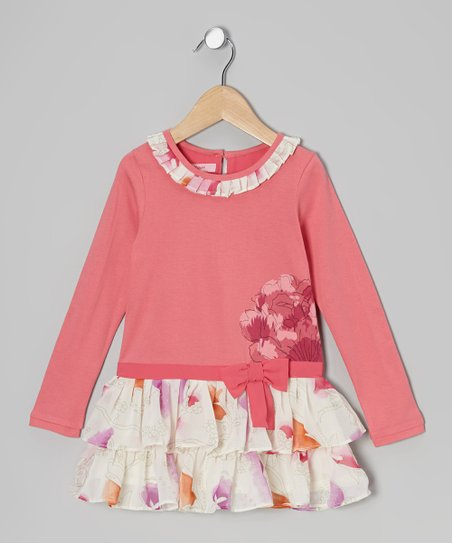 Coral Flower Tiered Ruffle Dress - Toddler & Girls