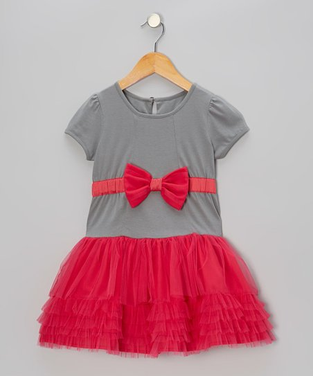 Gray & Pink Bow Tulle Dress - Toddler & Girls