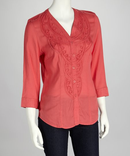 Passion Fruit Embroidered Button-Up Tunic