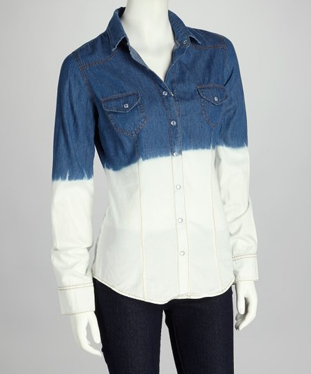 Blue & White Ombré Denim Button-Up